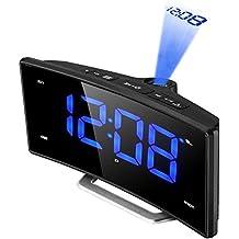 Despertador Proyección, Pictek Radio Despertador Digital [Curvo-Pantalla Brillo Ajustable] Grande 2 '' Pantalla LED Reloj Digital Soporte 3 Modos de Proyección, Radio FM, Temporizador de sueño, Snooze, 12/24 horas, Carga USB