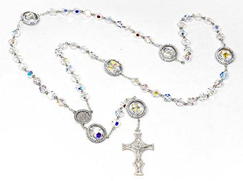 terling-Silber 925Swarovski-Kristall Rosenkranz Perlen und Lourdes Gebet Karte-Schöne katholischen Geschenke ()