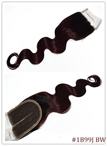 100% cheveux naturels vierges Wave Texture Fermeture Dentelle Suisse sur le dessus 10,2 x 10,2 cm supplémentaire gratuit avec blanchis Couleur 1B/99J Corps ondulés