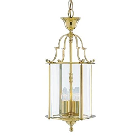 TRADITIONAL 3 LIGHT ROUND SOLID BRASS HANGING HALL LANTERN WITH CAST DETAILING AND CLEAR GLASS PANELS