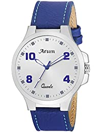 Arum White Round Day And Date Dial Blue Leather Strap Analog Watch For Men's And Boy's