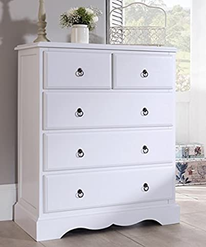 Romance TRUE White 2 over 3 Chest of Drawers, French large chest of drawers. FULLY ASSEMBLED