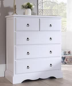 Romance True White 2 Over 3 Chest Of Drawers French Large Chest Of Drawers Fully Assembled