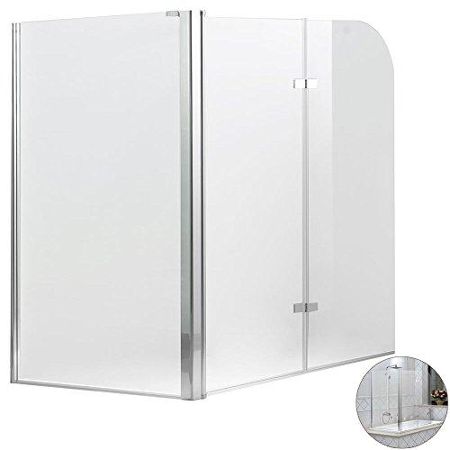 3teilige Glas Badewannen Faltwand Duschwand Badewannenaufsatz Duschabtrennung Aluminium Sanlingo