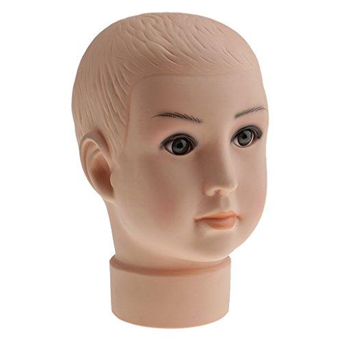 MagiDeal Kinder Mannequin Schaufenster Deko Kopf Baby Kind Model Puppe Mütze Hüte Perückenkopf Schminkkopf