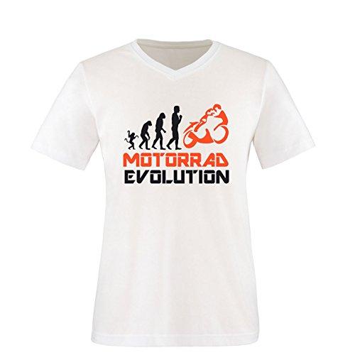 EZYshirt® Motorrad Evolution Herren V-Neck T-Shirt Weiss/Schwarz/Orange