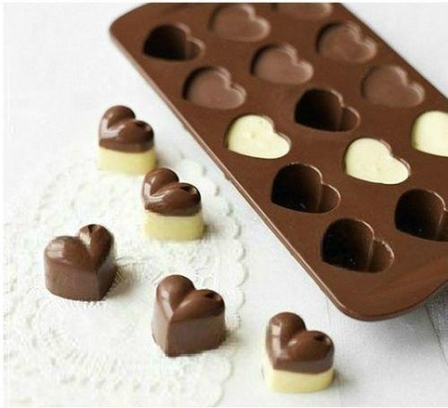 1pcs silicona corazón chocolate moldes gelatina hielo moldes molde