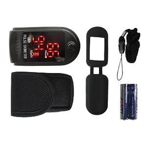 Fingerpulsoximeter TIGA-50DL CMS-50 DL Schwarz Herzfrequenzmesser SPO2 Sauerstoffsättigung Messung mit LED Display incl. Batterien/Tasche/Schutzhülle Silikon/Trageband + dt. Anleitung 1 Stück