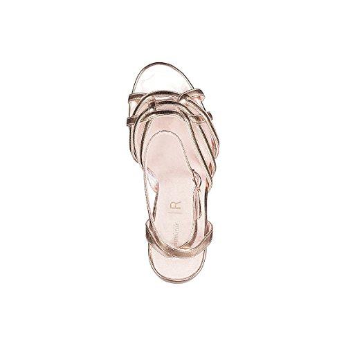 La Redoute Mademoiselle R Donna Sandali Cages Metallizzati Rosa Color Oro