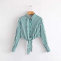 5f669c5d44 Cnsdy Camisas para Mujeres Soportes a Rayas Soportes Cortos recortados Camisas  para Mujeres Camisas de Manga