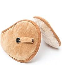 Lammfell Ohrenwärmer Ohrenschützer mit Nackenbügel und Kopfhörer / Headset beige Unisex für Damen Herren Kinder