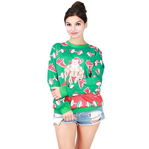 NiSeng Unisex Ugly Natale Felpa Caldo Maglione In Stile Sweater con Stampa Christmas Jumper Sportive Sweatshirt Verde Taglia unica
