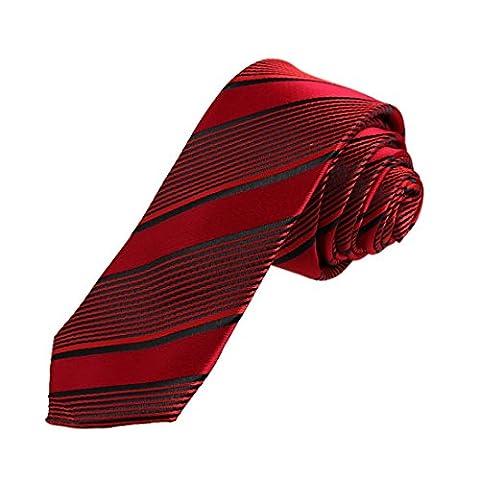 DAE7A22B rouge Noir rayures microfibres Maigre Cravate mince cravate par