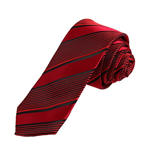 DAE7A22B Rote schwarze Streifen Microfiber Dünne Krawatte Britische Dünne Krawatte durch Dan Smith (Streifen-krawatte Britische)