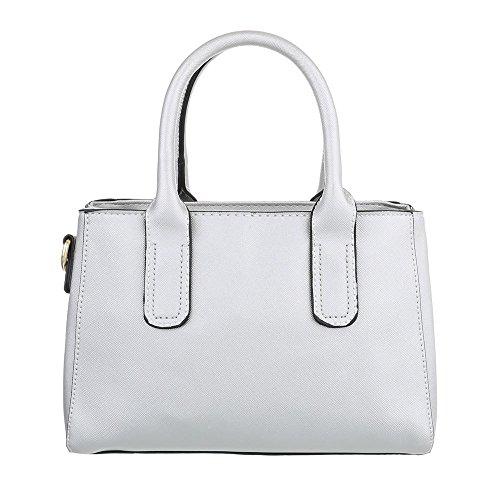 iTal-dEsiGn Damentasche Kleine Schultertasche Handtasche Kunstleder TA-C2215 Silber