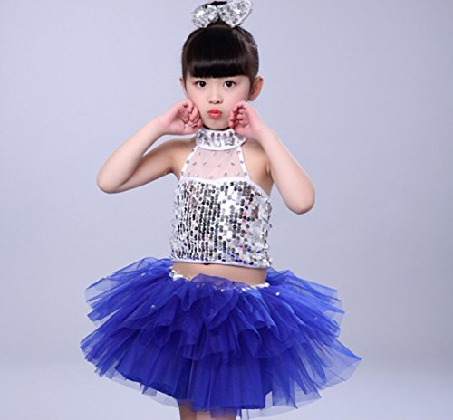 Mädchen Kinder Performance Kostüm Freestyle Dance Kostüm Tanz Kostüm Wettbewerb blau/schwarz, Blue, - Freestyle Dance Wettbewerbs Kostüm