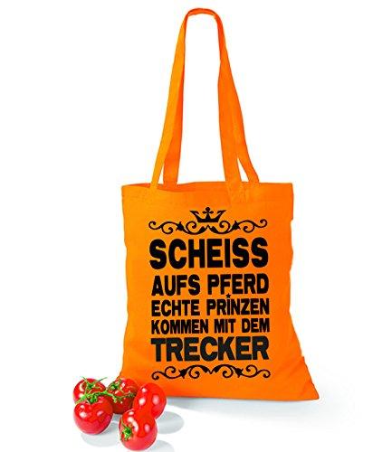 Artdiktat Baumwolltasche Scheiß auf´s Pferd - Echte Prinzen kommen mit dem Trecker yellow orange