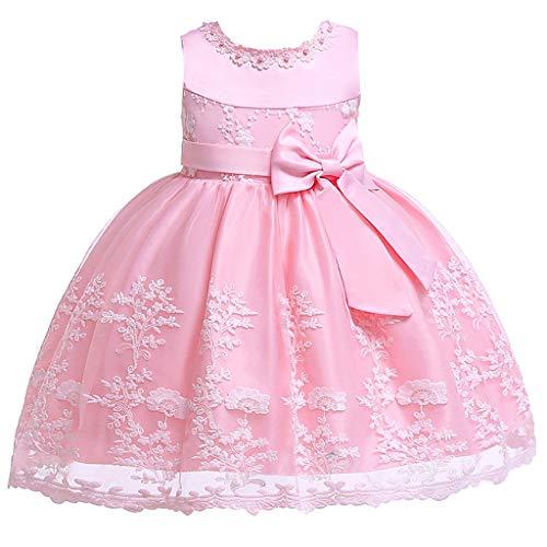 Livoral Mädchen Schönheit Seite Prinzessin Kleid Blume Baby Prinzessin Brautjungfer Kleid Geburtstagsfeier Hochzeitskleid(Rosa,100) -
