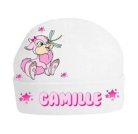Bonnet bébé lapin rose personnalisé avec prénom