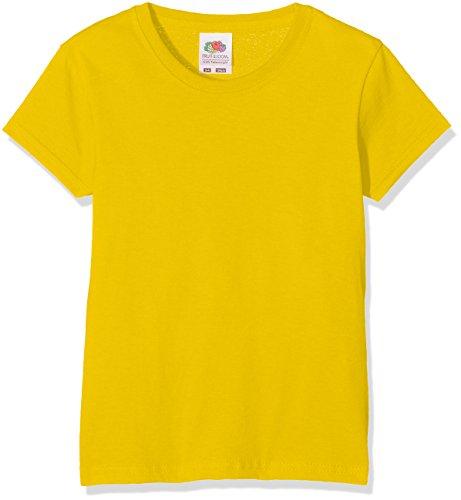 Fruit of the Loom Mädchen T-Shirt Valueweight T Girls, Gelb (Sunflower 601), Herstellergröße: 104 (3-4)