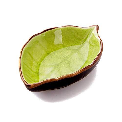 FOONEE Eintauchende Schüsseln, Handgemachte Keramische Blattform-Aperitif-Platten, Sojasoße-Teller für Sushi, Aperitif, Imbiss, Alle Arten Gewürz