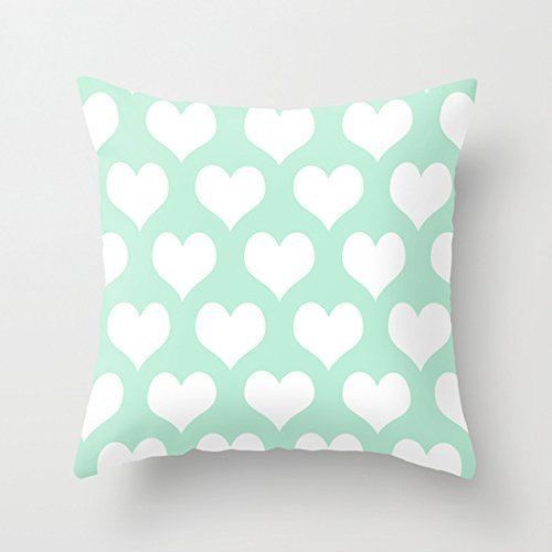 rongxincailiaoke Taies d'oreillers 18' x 18' Hearts of Love Mint Green Decorative Throw Pillow Case Cushion Co