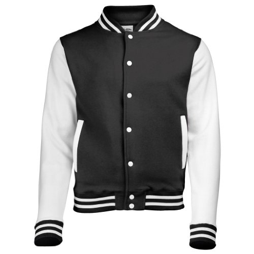 AWDis Just hottes Men's Elle possede Letterman Varsity Veste de baseball Multicolore - Noir/blanc