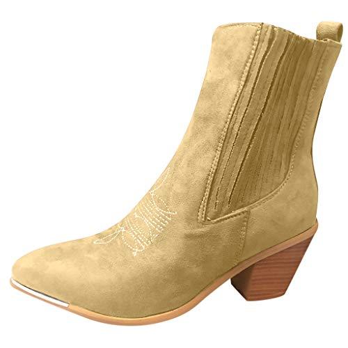 Momoxi Stivali Donna Invernali, Stivaletti alla Caviglia da Donna con Tacco Basso E Scarpe Comode con Lacci Arrotondati