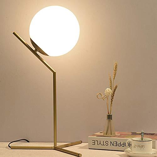Lámpara de mesa esférica de oro Estilo simple Salón Dormitorio ...