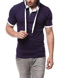 Gritstones Navy/White Full Sleeve Hooded T Shirt GSHDTSHT1286NVYWHT