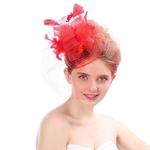 HFJ&YIE&H Faszinatoren Hut Für Frauen Damen Romantische Blume Haarnadeln Haar Klammern Mesh Feder Spitze Kirche Cocktail Kentucky Derby Tee Party Hochzeitskopfbedeckung,A