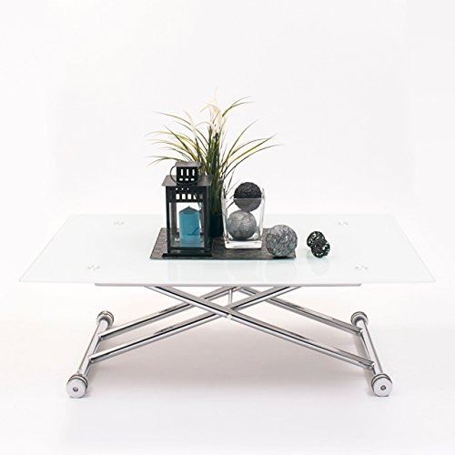 Mesa de centro elevable patas de metal y tapa de cristal templado