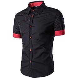 Tefamore Camisa de manga corta para hombre De Moda Ropa Ajustado formal Casual De Fiesta (Tamaño:XXL, negro)