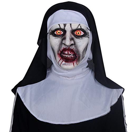 WHFDRHWSJMJ Halloween Maske LED Light Horror Maske Latex Scary Maske Die Nonne Horror Masken Cosplay Maske Mit Kopftuch Horror Kostüm Full Face Helm Halloween Party Prop, ()