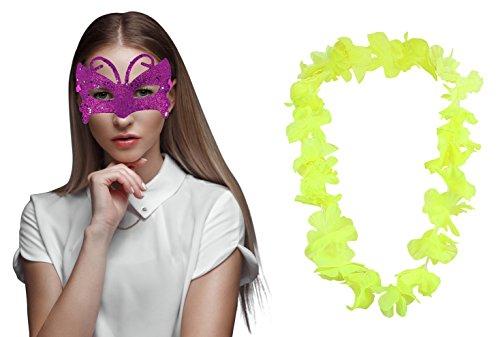 Augenmaske Karneval Katze Cat Eye Augen Auge Venezianer venezianische Maske Sexy Fasching - Pink + Gelb