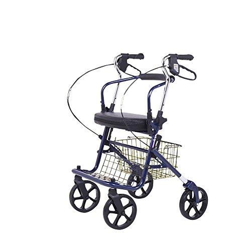 Wei-d Leichter faltender Rollator-Wanderer mit vier Rädern mit gepolstertem Sitz, älterer Einkaufswagen-Handstoß kann einen leichten Spaziergang nehmen , Blue (Vier-rad-rollator)