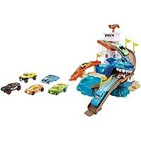 Hot Wheels Piste Attaque Requin, Coffret de jeu avec 2 Zones de Changement de Couleur et un Véhicule Color Shifters Inclus, jouet pour Enfant, BGK04