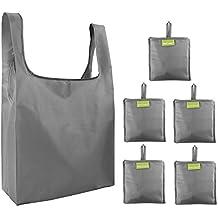 27cc78494 Bolsas plegables reutilizables para la compra, 5 bolsas, color gris, con  bolsillo,