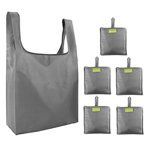 BeeGreen Faltbare-Einkaufstaschen-Reißfest-Reusable-Shopping-Bags 5 Stück, 40cm×38cm×15cm Einkaufstüte Polyester Wiederverwendbare Shopper Taschen Grau, Geschenk für Mann Frauen