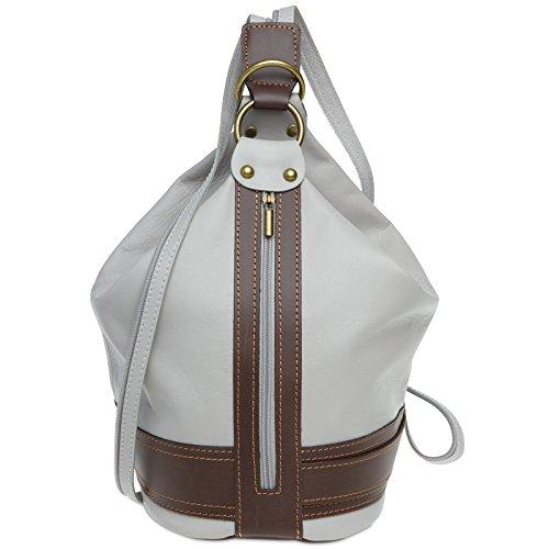 CASPAR TL721 2 in 1 Rucksack Handtasche Schultertasche Daypack aus weichem Nappa Leder , Farbe:hellgrau;Größe:One Size