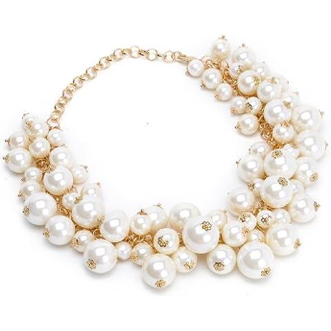Moda Bianco Perla Collana Collare Grappolo Perla Choker Bavaglino Eleganti Delle Donne Pendente - Catena Nappa Orecchini