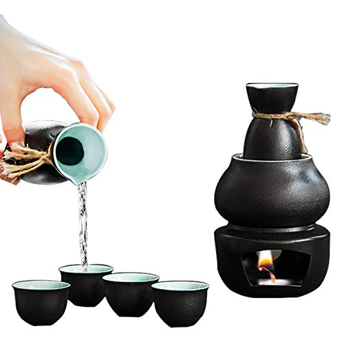 Kimmyer Sake-Set mit Warmer-Traditionelle Töpferei Hot Saki Set 6-Piece inklusive Hip Flasche Wein Glas warmen Topf-Quaint Textur