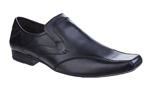 Base London Mens Sphere Excel Formal Waxy Leather Slip-On Loafer Shoes Schwarz