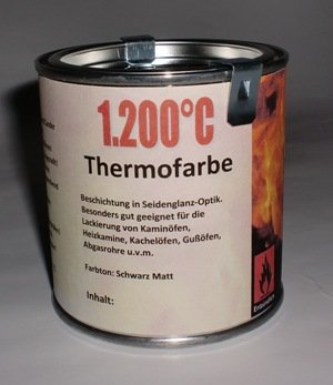 Preisvergleich Produktbild Ofenlack 1200°C Thermofarbe Ofenfarbe Thermolack Schwarz matt 250ml (ad-ideen)