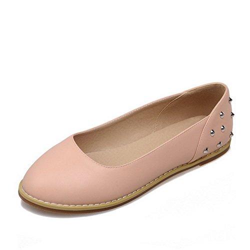 VogueZone009 Femme Matière Souple Rond à Talon Bas Tire Mosaïque Chaussures à Plat Rose