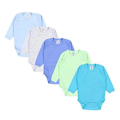 TupTam Jungen Baby Body Langarm Unifarben 5er Pack, Farbe: Farbenmix 2, Größe: 56