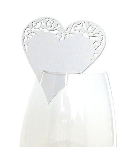 10x Tischkarten Hochzeit EinsSein® Herz Ornamentik weiß - Tischkarten, Platzkarten, Namenskarten, Platzkartenhalter