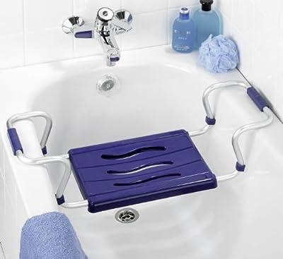 WENKO 7339500 asiento para bañera Secura colour azul - extensible, 150 kg Capacidad de carga, de plástico de colour - de polipropileno, 55 - 65 x 18 x 26 cm, colour azul