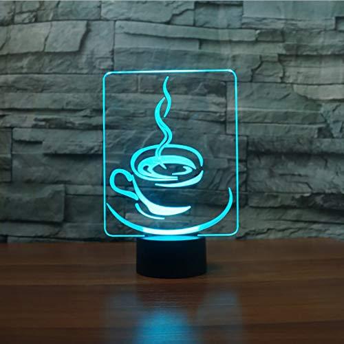 Illusion Lampe Nachtlicht 3D optische Täuschung Lampe Tasse Kaffee Led Touch Button Tisch 7 Farben Ändern Usb Leuchte Kinder Geschenke Restaurant Decor