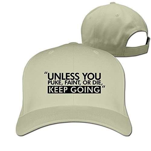 Feruch Unless You Puke Faint Or Die, Keep Going - Body Building, GymHat Baseball Caps Natural